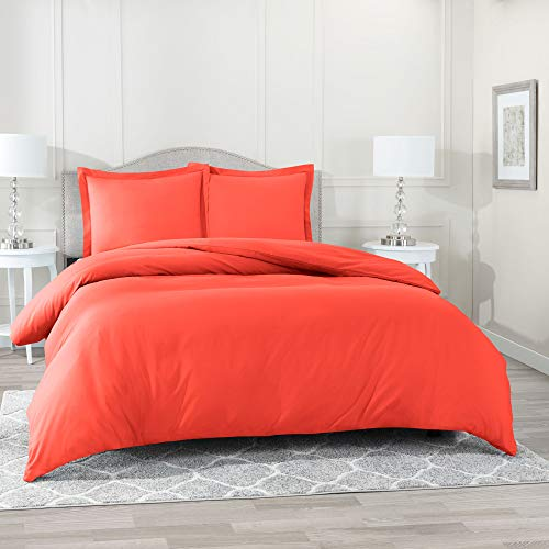 (Nestl Bedding Duvet Cover 3 Piece Set - Ultra Soft Double Brushed Microfiber Hotel Collection - Comforter Cover with Button Closure and 2 Pillow Shams, Orange - Queen 90