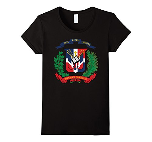 Womens Dominican Republic Coat Of Arms T Shirt National Emblem Large Black