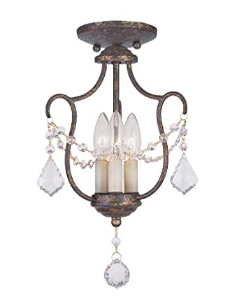 Livex Lighting 6420-71 Chesterfield 3 Light Convertible Hanging Lantern/Ceiling Mount, Hand Applied Venetian Golden Bronze