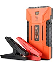 mfavour Car Jump Starter 1200A Peak 16000mAh Portable Battery Booster with with dual USB outputs, DC output and LED flashlight Car Power Pack for cars, trucks, boats, motorcycles