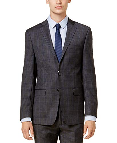 Calvin Klein Men's Slim-Fit Dark Gray & Blue Plaid Suit Dark Grey 42S