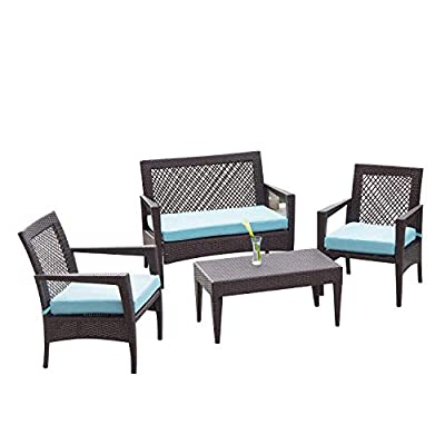Auro 4 Piece Wicker Patio Conversation Set | Brisbane Outdoor Furniture | All-Weather Brown Rattan Deluxe Chat Set with 2 Blue Olefin Cushioned Chairs & Loveseat | Porch, Backyard, Pool, Garden - CLEAN & SOPHISTICATED DESIGN– Crafted with high-quality materials in timeless silhouettes, this hand-woven weathered rich dark brown wicker patio conversation set with classic blue pads add elegance to your outdoor patio, deck, backyard porch, or even pool. Enhance your outdoor space so you'll want to invite some friends over and luxuriate in the outdoors. COMFORTABLE AND FUNCTIONAL – Created with relaxation and coziness in mind, this outdoor loveseat comes with generous sized thick sponge padded seat cushions. This loveseat can also be used as a standalone piece to fill up a smaller outdoor living area or used with another type of wicker furniture set. PREMIUM WATER-RESISTANT FABRIC – The thick, square-bound cushions on the seat adds extra comfort, and this versatile, all-weather design is continued on the matching coffee table with its sleek and practical wicker top with thick PP board support. Crafted with high-quality water resistant and UV-protected,water- and fade-resistant olefin fabric, the comfortable cushions are resistant to bacteria, mold, mildew, and odor. Cushion covers are removable with a quick zip and easy spot cleaning! - patio-furniture, patio, conversation-sets - 41VuT4BS61L. SS400  -