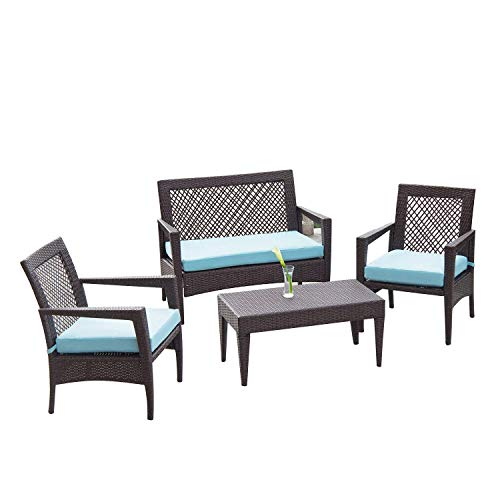 Auro 4 Piece Wicker Patio Conversation Set | Brisbane Outdoor Furniture | All-Weather Brown Rattan Deluxe Chat Set with 2 Blue Olefin Cushioned Chairs & Loveseat | Porch, Backyard, Pool, Garden