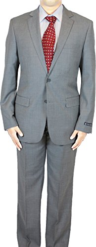 NAAMS Men's Wool 2 Button 2 Vent Suit with Slim Jacket Flat Front Pant 40R ()