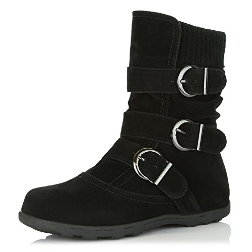 DailyShoes Women's Winter Snow Boots with Buckles Durable Traction Warm Cozy Ankle Mid Calf Slouch Perfect for Fall and Snow Seasons, Black SV, 8.5 B(M) US