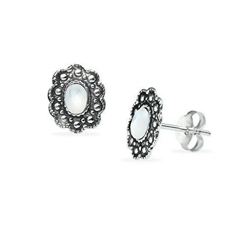Sterling Silver Simulated Mother Of Pearl Stud Earrings Oxidized For Women