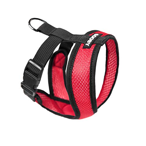 Gooby - Comfort X Head-in Harness, Choke Free Small Dog Harness with Micro Suede Trimming and Patented X Frame, Red, Medium]()