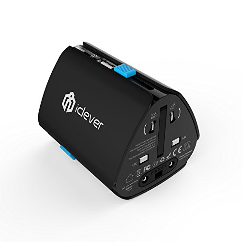 iClever Worldwide Travel Adapter, All in One Universal Wall Charger International AC Power Plug Adapter with USB Charging Port for USA EU UK AUS Cell Phone (Black)
