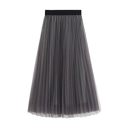 L&Z Women's Tulle Skirt Elastic waist High Waist A-Line Midi Skirts Gray
