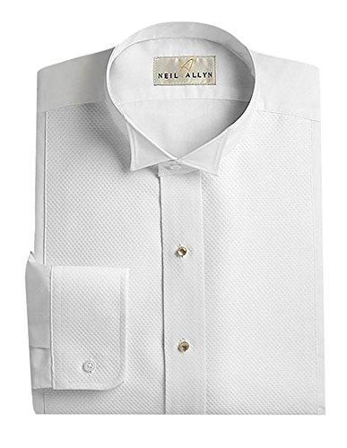 Neil Allyn Men's Pique Wing Collar Tuxedo Shirt, 17/17.5 X 36-37 - Pique Tuxedo Shirts