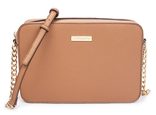 Korvara Saffiano Crossbody Bag - Womens Vegan Saffiano Leather Top Zip Handbag ()