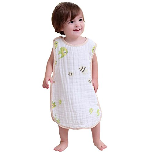Baby Sleep Sack with Snap Fastener Babies Sleeping Bag Breathable Toddlers Sleep Nest Cotton for Spring Summer Autumn (L(2-4old), Fish) from Suki Chris