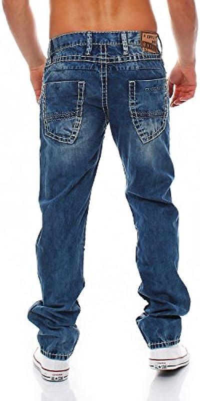 Cipo & Baxx - C-1125 - Regular Fit - gruby szew - męskie jeansy spodnie: Odzież
