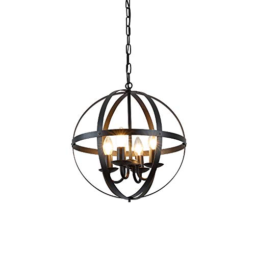 (Create for Life 4-Light Modern Rustic Sphere Chandelier,Industrial Vintage Retro Pendant Light, Matte Black Finish)