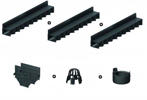 ACO 3er Schlitzrinnen Set mit Hexaline Kunstoff-Rinne schwarz inkl.Zubehörkit