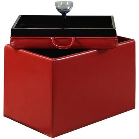 Convenience Concepts Designs4Comfort Modern Accent Storage Ottoman Red