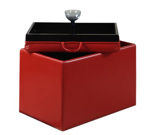 Convenience Concepts Designs4Comfort Modern Accent Storage Ottoman, Red by Convenience Concepts