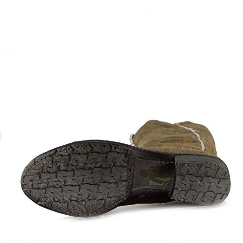 Damen Winter Warm Pelz Gefüttert Knöchel Gleiten Auf Zip Stiefel Taupe