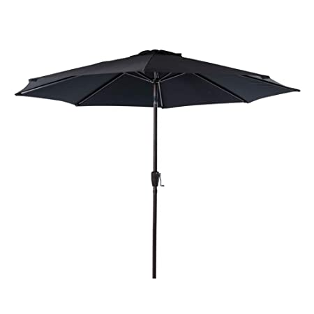 Sundale Outdoor 9 Feet Aluminum Market Umbrella Table Umbrella with Crank and Auto Tilt for Patio, Garden, Deck, Backyard, Pool, 8 Alu. Ribs, 100 Polyester Canopy Black