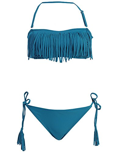 Marina West Fringe & Tassel Bikini Swimsuit Set (Large, TEAL)