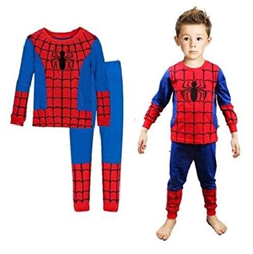 Boys Pajamas Sets Children Christmas Pants 100% Cotton Spider-Man Long Kids Snug Fit Pjs Winter Toddler Sleepwear (Red, 3T)