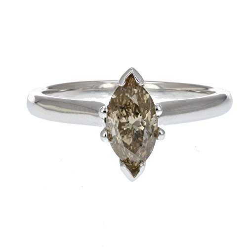 1 CT Champagne Diamond Solitaire Ring in 14K White Gold Size 7