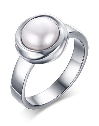 Anka Stainless Steel Freshwater Cultured Pearl Engagement Ring for Women,Size 8 (Band Eternity Pearl Ring)