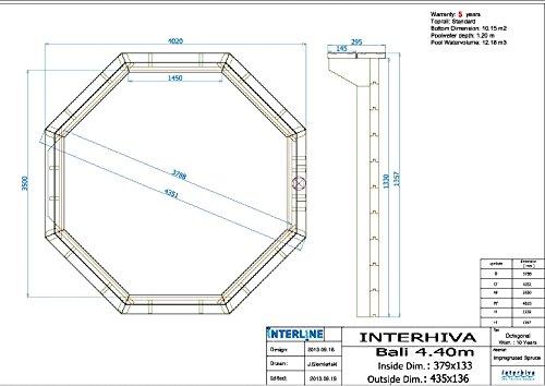 Interline 50700210 Bali - Piscina para instalación Sobre Tierra y enterrada, Paredes de Madera, Redonda, 4, 40 m x 1, 36 m, Filtro de Arena de 4 m³/h: ...