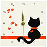 3dRose dc_164791_1 Pet Lovers Red Hearts Black Kitty Cat Desk Clock, 6 x 6