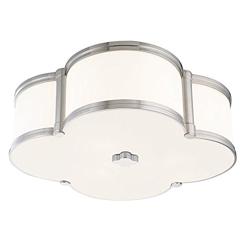 - Chandler 3-Light Flush Mount - Polished Nickel Finish with Clear/White Glass Shade
