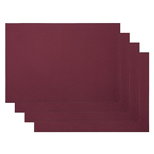 VEEYOO Waffle Jacquard Polyester Placemats for Kitchen Dining Table Meal Mat Non-slip Insulation ...