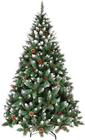 YOUKE Albero di Natale Artificiale di Pino Dolce Glassato Decorato con Pigne e Bacche Rosse,Facile da Installare, Materiale in PVC (690Tips,1.8M)