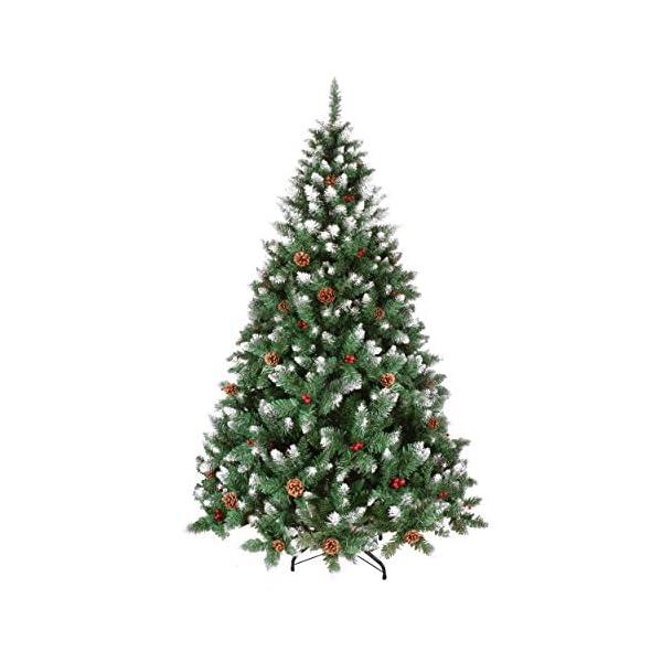 YOUKE Albero di Natale Artificiale di Pino Dolce Glassato Decorato con Pigne e Bacche Rosse,Facile da Installare, Materiale in PVC (1400Tips, 2.25M) 1 spesavip