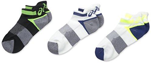 ASICS Unisex Quick Lyte Cushion Single Tab Socks (3 Pairs), Indigo Blue Assorted, X-Large