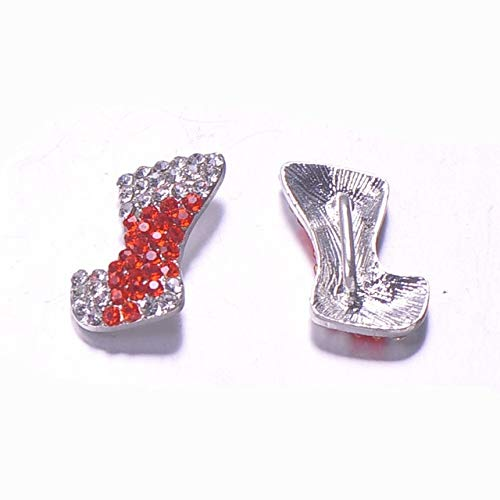 Buckes - (L0672)50pcs/lot,10mm bar at Back,Metal Rhinestone Buckle, Christmas Collection, Silver Plating,Colorful Crystals - (Color: Shoe)