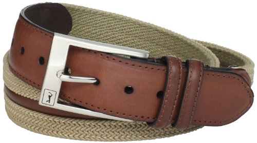 PGA TOUR Men's Herringbone Fabric And Leather Belt, Brown/Khaki, (Pga Tour Leather)