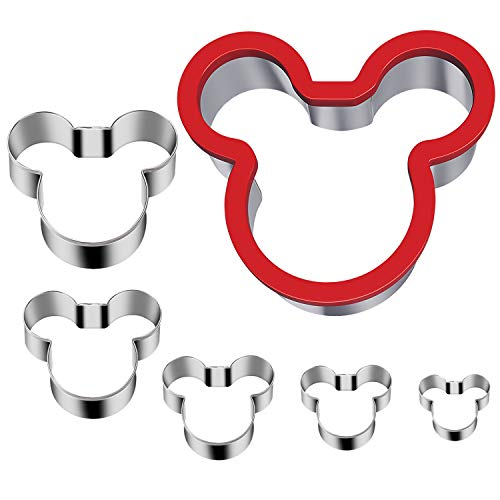 Hibery 6 Pack Mickey Mouse Cookie Cutter, Stainless Steel Mickey Head Sandwich Cutter Set, Suitable for Cakes and Cookie -