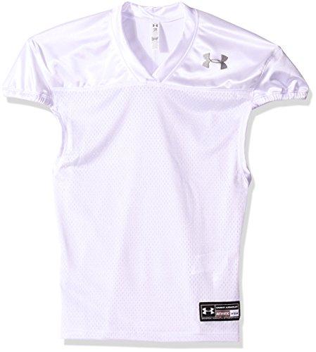 Under Armour Boys' Football Jersey, White /Black, Youth Large (Football Jerseys For Youth)