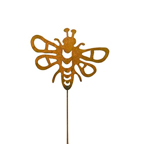 Bees Outdoor Art - Bumblebee Decorative Metal Garden Stake, Whimsical Garden Idea, Metal Garden Art, Outdoor Lawn and Patio Decor, Backyard Sculpture, Elegant Garden Design and Landscape Decoration, Outdoor Art, Lawn Ornament, Lawn Art, Modern Rustic Decor, Rusty Metal Patina, Steel and Iron, Welded Metal Stake, Home Gardening Design, Made for the Outdoors, Durable Gardening Art. Beautiful Idea to complement flower gardens, patios, flower boxes,indoor planters, outdoor planters, flower pots. American artisan made metal art for your backyard that will bring a smile for years. Makes a great garden gift idea for gardeners, nature lovers, and more! Handcrafted by Oregardenworks in the USA!