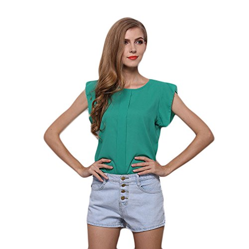 Icon Vest Womens Leather (Hot Sale! Farjing Women O-Neck Sleeveless Pure Color Vest Chiffon Tops T-Shirt Blouse(XL,Green))
