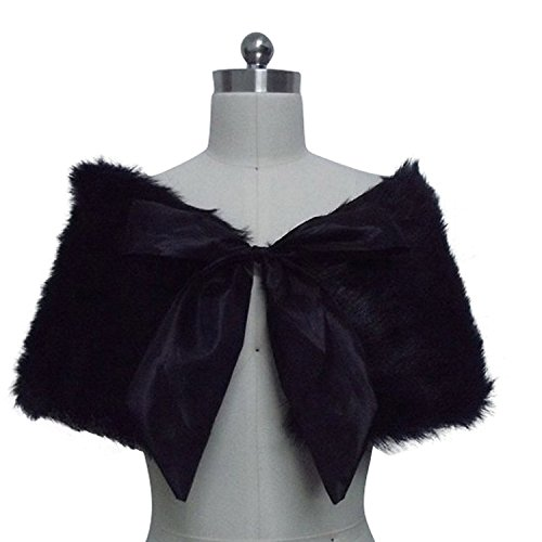 ALfany Black Faux Fur Wrap Cape Shawl with bowknot for Wedding Dress Winter 2016 ALF17001BK