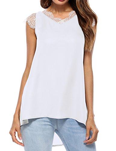 Ranessa Women Lace V Neck Tank Tops Casual Loose Sleeveless Chiffon Blouse Shirt White S