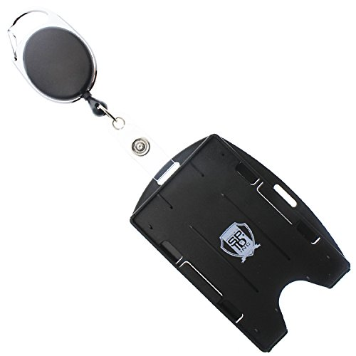 Premium 2 Card Open Face Badge Holder - Works Vertical or Horizontal - with Retractable Carabiner Badge Reel by Specialist ID (One, Sold Individually, Black)