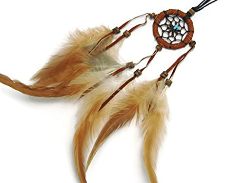 APECTO Handmade Dream Catcher Crochet Circular Net With Feathers Synthetic Turquoise Stone Pendant Necklace Brown (DMF3)