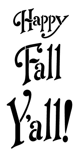 graphic about Happy Fall Yall Printable titled Content Drop Yall! through StudioR12 Exciting, Drop and Festive - Reusable Mylar Template Portray, Chalk, Combined Media Wall Artwork, Do it yourself Property Decor -STCL926 -