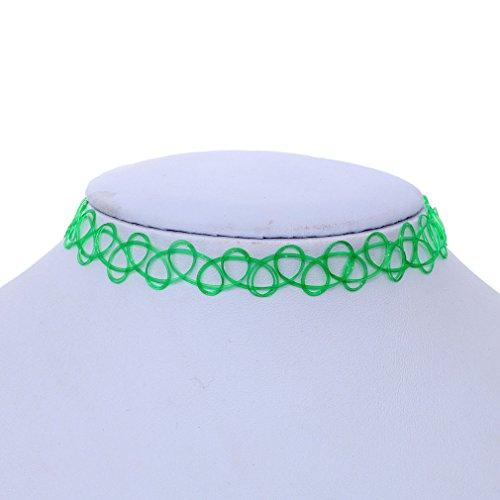 YAZILIND Light Green Stretch Gothic Tattoo Henna Choker Hippy Necklace Elastic Wholesale 2pcs