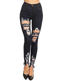 Vibrant de la Mujer Juniors High Rise Jeans W Heavy Distressing