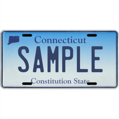 "Your Name Your State Custom Metal License Plate - Choose from all 50 States (Connecticut, 6"" x 12"" Standard Thickness (.030""))"