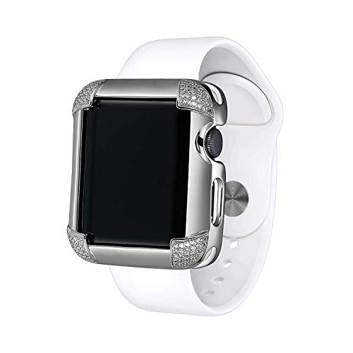 (Sterling Silver & Rhodium Plated Jewelry-Style Apple Watch Case with Cubic Zirconia CZ Pavé Corners - Large (Fits 42mm iWatch))