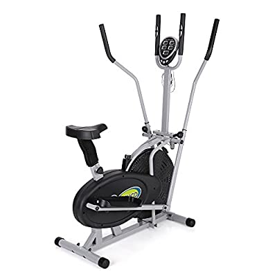 TOMSHOO Elliptical Bike 2 in 1 Cross Trainer Fan Bike with Heart Rate Monitor Exercise Fitness Machine Height Adjustable Home Gym Workout